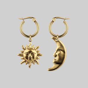 Sun And Moon Hoop Earrings Gold Or Silver
