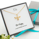 Gold Bee Necklace on Personalised Message Card by Lily Charmed