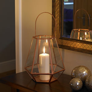 Copper Jewel Candle Lantern