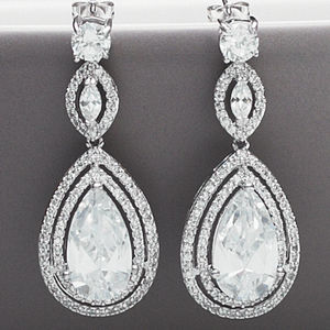 Peardrop Vintage Style Crystal Earrings