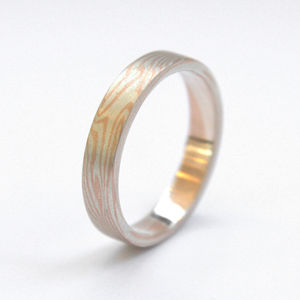 Mokume Gane Slim Band With Loose Woodgrain Pattern - what's new