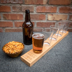Personalised Five Beer Glass Tasting Paddle - gifts for him