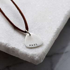 Personalised Men's Silver Plectrum Necklace - music-lover