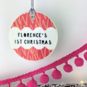 Ceramic Baby's First Christmas Bright Pattern Bauble