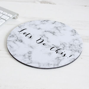 Personalised Marble Effect Mouse Mat Round - desk accessories