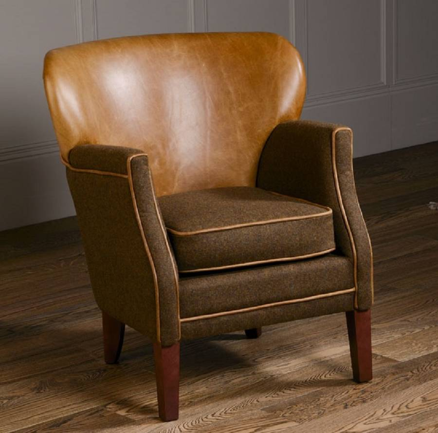 Curved Back Armchair Vintage Leather Or Tweed