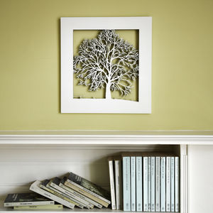 Small Wood Tree Wall Art - mixed media & collage