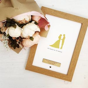 Gold Foil Personalised Bride And Groom Wedding Day Gift - mixed media & collage