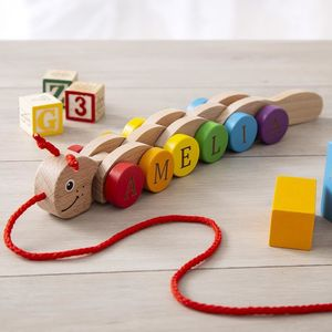 Personalised Colourful Pull Along Caterpillar Toy