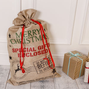 Large Christmas Hessian Gift Santa Sack - stockings & sacks