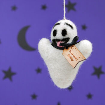 Personalised Felt Ghost Hanging Christmas Decoration