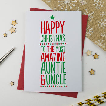 Amazing Auntie And Uncle Christmas Card