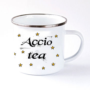 Book Lovers Camping Style Mug, Accio Tea Or Coffee
