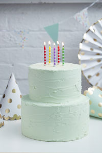 Multi Coloured Stripe Birthday Cake Candles - decoration