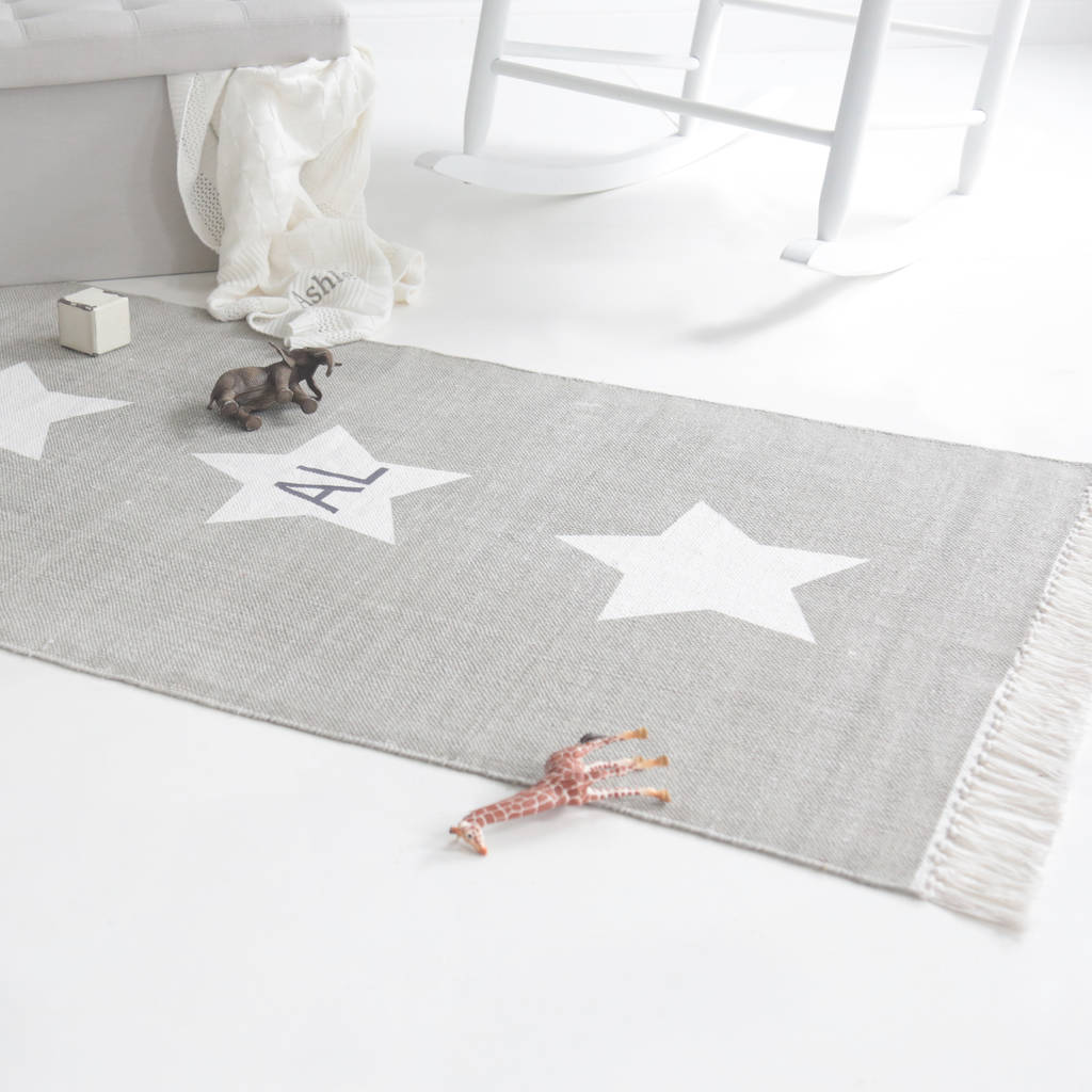 Personalised Grey Star Rug By My 1st Years