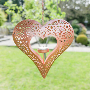 Hanging Heart Copper Tealight Holder - lights & lanterns