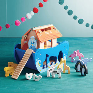 Personalised Wooden Noah's Ark Shape Sorter - keepsakes