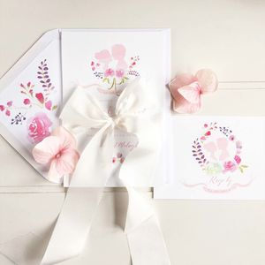 Love Story Watercolour Invitation Suite