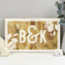 Personalised Couples Initials Wooden Anniversary Print