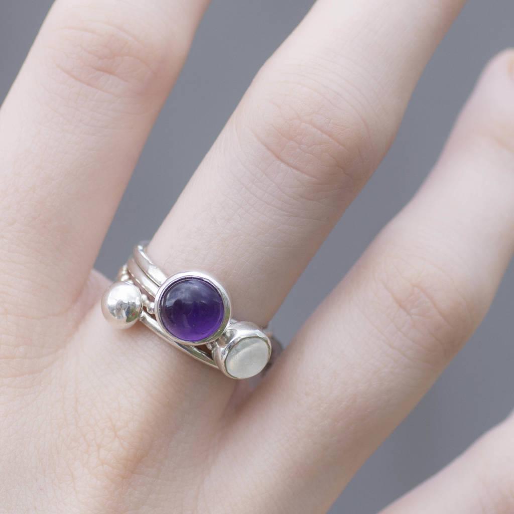 3e89c91953435c June Birthstone Rainbow Moonstone Ring · Handmade Amethyst And Moonstone Stacking  Rings · Handmade Amethyst And Moonstone Stacking Rings