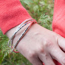 Sterling Silver Chunky Triple Linked Hammered Bangle