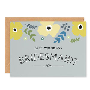 Yellow Poppy 'Will You Be My Bridesmaid?' Card - on trend: yellow & grey