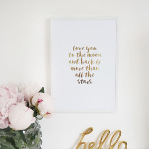 'Love You To The Moon And Back' Wall Art Foil Print - children's room