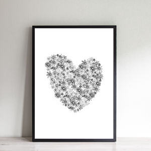 Contemporary Monochrome Floral Heart Print - posters & prints