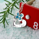 Personalised Enamelled Daisy Heart Pendant