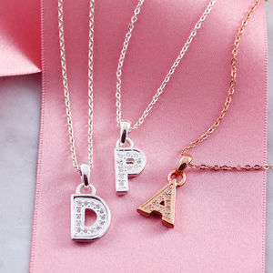 Modern Vegas Diamante Initial Necklace - winter sale