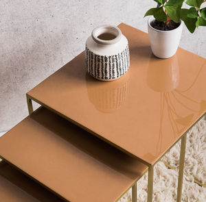Set Of Three Tan Nesting Side Tables - furniture