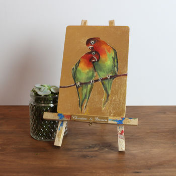'The Loving Lovebirds' Original Gilded Bird Painting