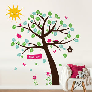 Woodland Tree With Birds Wall Decal Sticker - baby's room