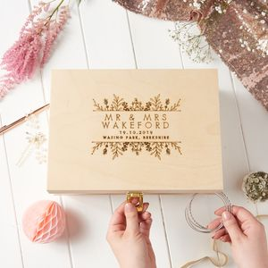Personalised Botanical Wedding Keepsake Box - storage & organisers