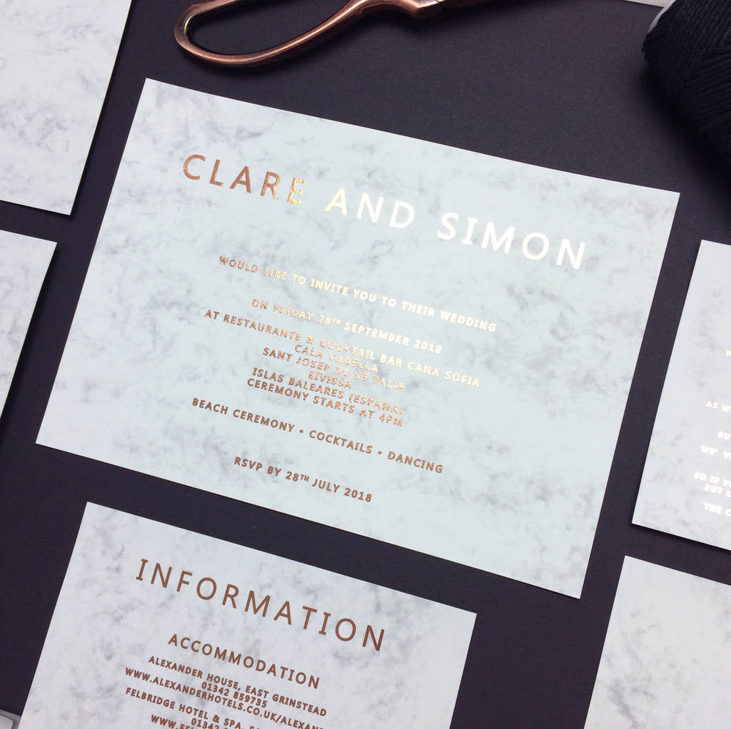rose gold and marble copper foil wedding invitation by made with ...