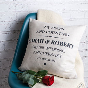 Silver Wedding Anniversary Cushion Cover - 25th anniversary: silver