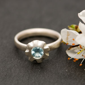 Blue Gemstone Flower Ring - rings