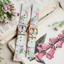 'Blossom' Leather Smartwatch Strap; Handmade Watch Band