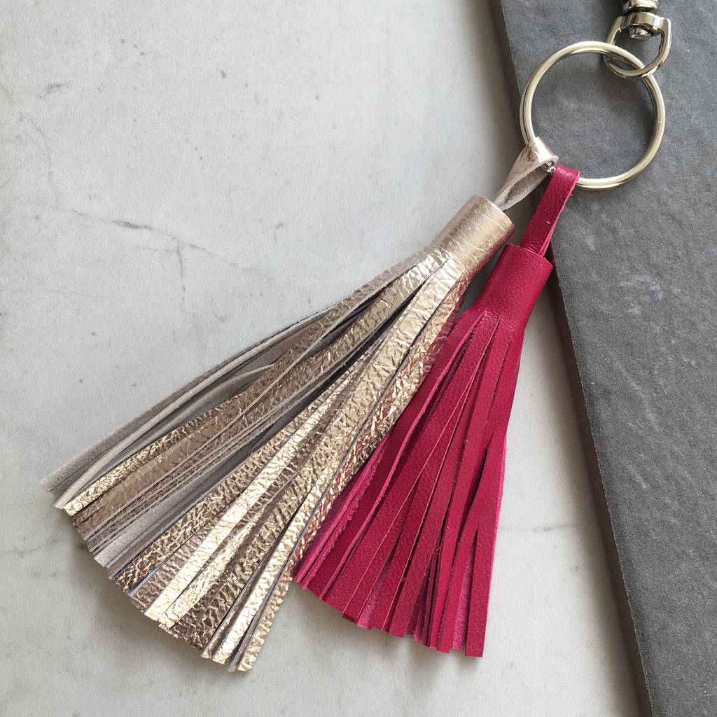 8e88110fec487c double tassel leather handmade keyring by tessa marie cox ...