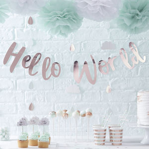 Rose Gold Hello World Baby Shower Bunting Banner - decoration