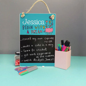 Begin With A Dream Personalised Chalkboard - kitchen