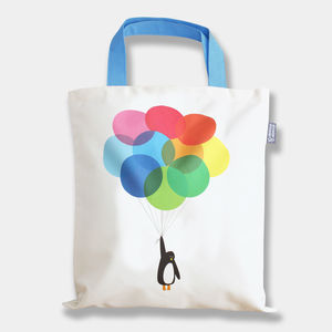 'Mr Penguin Balloon' Tote Bag - beach bags