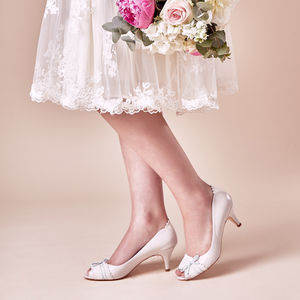 Wedding Shoes Martha Porcelain Leather Peep Toe