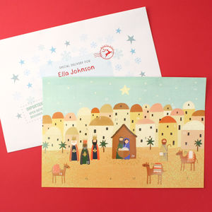 Personalised Bethlehem Advent Calendar And Envelope