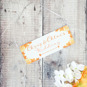 Personalised Autumn Wedding Arrow Sign - art & decorations