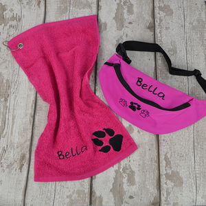Personalised Doggy Bum Bag And Towel Set - dog walking accessories