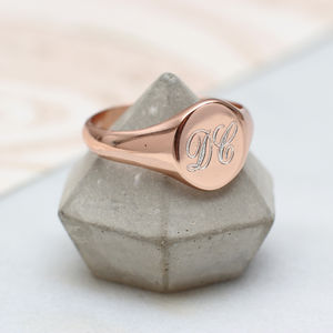 Ladies Rose Gold Monogram Signet Ring
