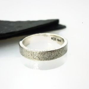 Brushed Sterling Silver Ring 4mm - rings