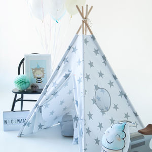 Kids Teepee Tent Set White And Grey Stars - tents, dens & teepees