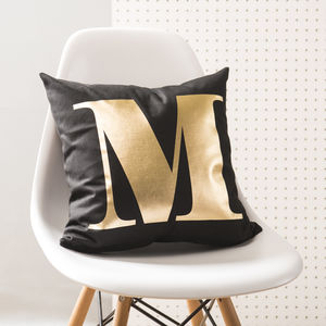 Personalised Monogram Black And Gold Cushion